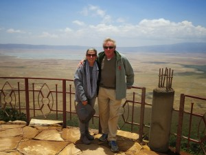 At the Ngorongoro Crater wearing my ubiquitous scarf