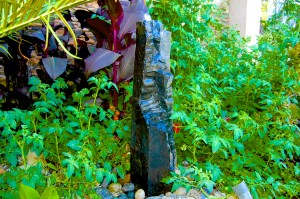 Mike's front yard fountain with tomatoes meandering through