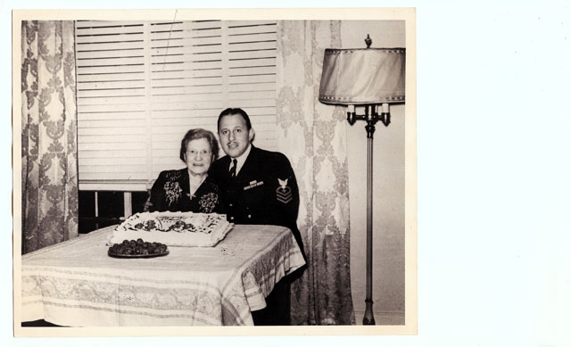 Uncle Phil home from WWII with his mother, my maternal grandmother