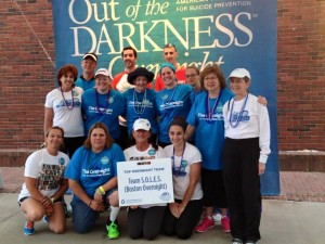Joanne and I met at the AFSP Out of the Darkness suicide prevention walk in June,. She's in the second row on the left.