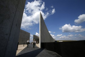 The dark stone path that bisects the Flight 93 National Memorial visitors center in Shanksville, Pa., memorializes the flight path of the United Airlines plane. Gene J. Puskar/AP