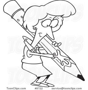 cartoon-black-and-white-line-drawing-of-a-business-woman-writing-with-a-pencil-by-ron-leishman-8722