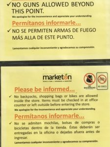 An interesting sign outside the market.